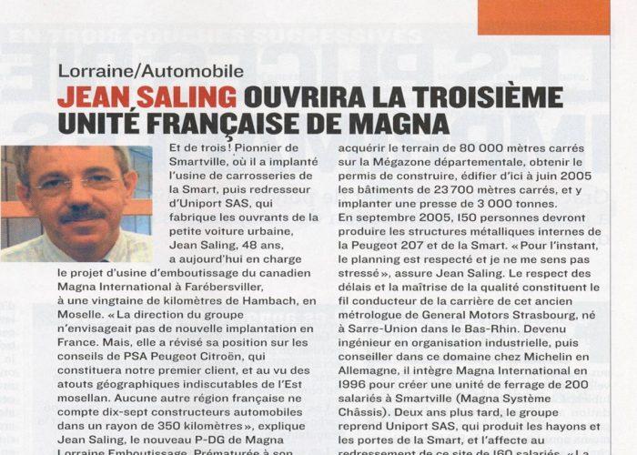 Diagnostic and Strategy Jean Saling 3ème usine française Magna | stratégie et organisation d'entreprises