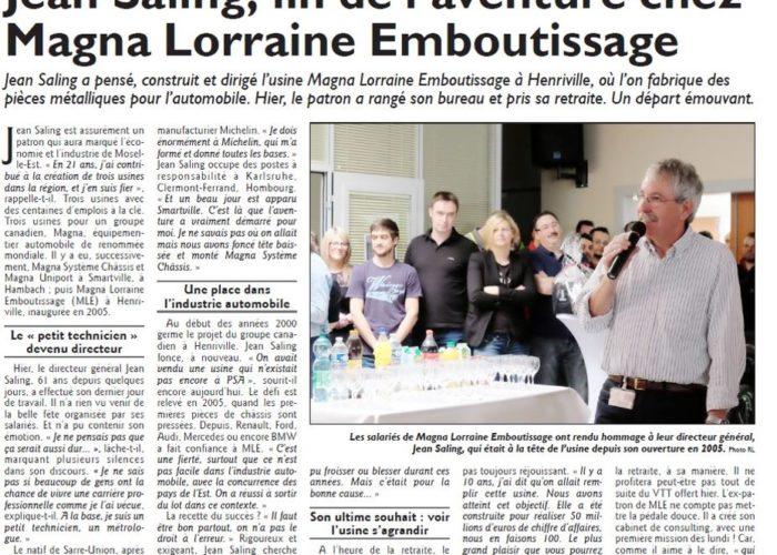 Diagnostic and Strategy Jean Saling, Républicain Lorrain, fin de l'avanture chez Magna Lorraine Emboutissage | stratégie et organisation d'entreprises