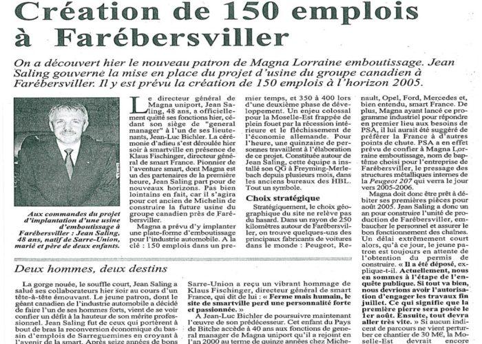 Création de 150 emplois à Farébersviller, Jean Saling, Diagnostic & Strategy